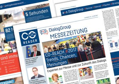 Gestaltung & Satz / Messezeitung CO-READER / Kunde: a+s DialogGroup GmbH, Stuttgart